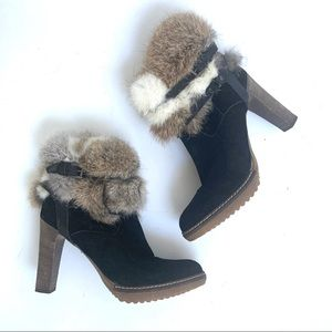 NEW MINELLI BLACK SUEDE HEELED BOOTS WITH FUR